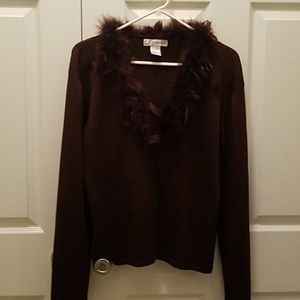 Brown Sweater with Feather Collar